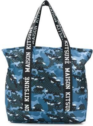 MAISON KITSUNÉ x Eastpak camouflage print tote bag