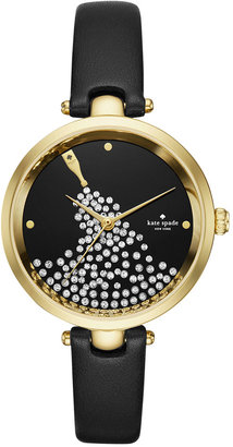 kate spade new york Women's Holland Black Leather Strap Watch 34mm KSW1234 $225 thestylecure.com