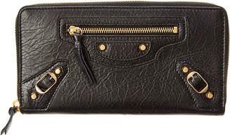 Balenciaga Classic Gold City Leather Continental Zip Around Wallet