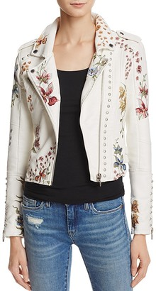 BLANKNYC Floral Embroidered Studded Faux Leather Moto Jacket $168 thestylecure.com