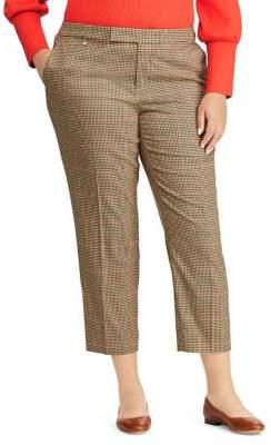 Lauren Ralph Lauren Plus Windowpane Cotton-Blend Pants
