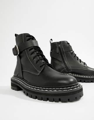 eb5e403eaed Asos Design DESIGN Premium atomic leather chunky lace up boots
