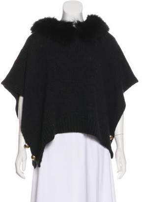 Lanvin Fur-Trimmed Short Sleeve Ponchos