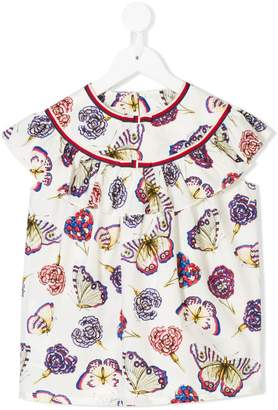 Gucci Kids butterfly print ruffled blouse