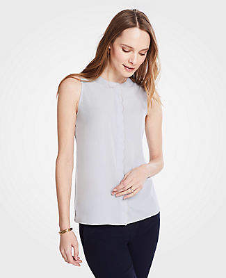 Ann Taylor Scalloped Placket Shell