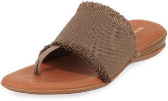 Andre Assous Nanette Frayed-Trim Leather Slide Sandals