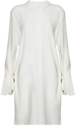 Halston Bow-Detailed Satin-Crepe Shirt Dress