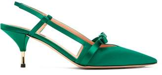 Rochas Bow Trimmed Satin Slingback Pumps - Womens - Dark Green