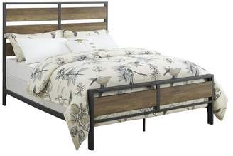 Walker Edison Furniture Company Queen Size Metal and Wood Plank Bed