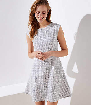 LOFT Petite Checked Jacquard Flare Dress