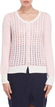 Lamberto Losani Stripe Side Open Knit Cashmere Cardigan
