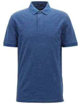 BOSS Hugo Denim-effect polo shirt press-stud closure L Open Blue