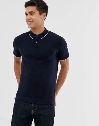 Celio Knitted Polo Shirt With Contrast Tipping