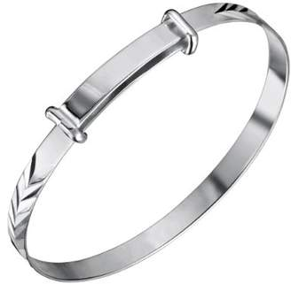 Jo for Girls Jo Expanding Sterling Silver Pattern Baby Bangle 45mm