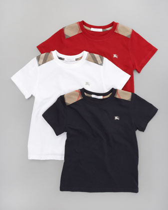 Burberry Mini Check-Shoulder Tee, Military Red