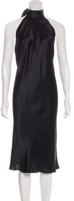 Dolce & Gabbana Silk Halter Midi Dress Black Silk Halter Midi Dress