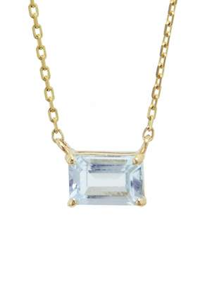 Suzanne Kalan KALAN By Horizontal Emerald Cut Blue Topaz Necklace - Yellow Gold