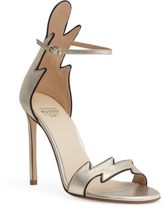 Francesco Russo Metallic gold 105 flame sandals