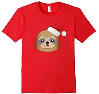 Cute Emoji Christmas Sloth with Santa Hat Holiday T-Shirt