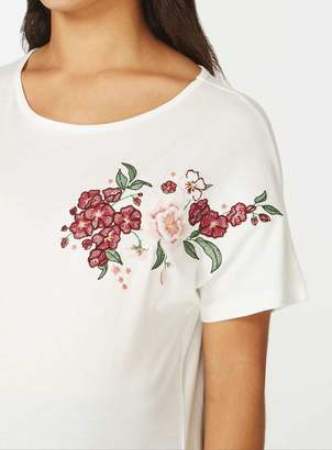 Dorothy Perkins **Maternity Ivory Floral Embroidered T-Shirt