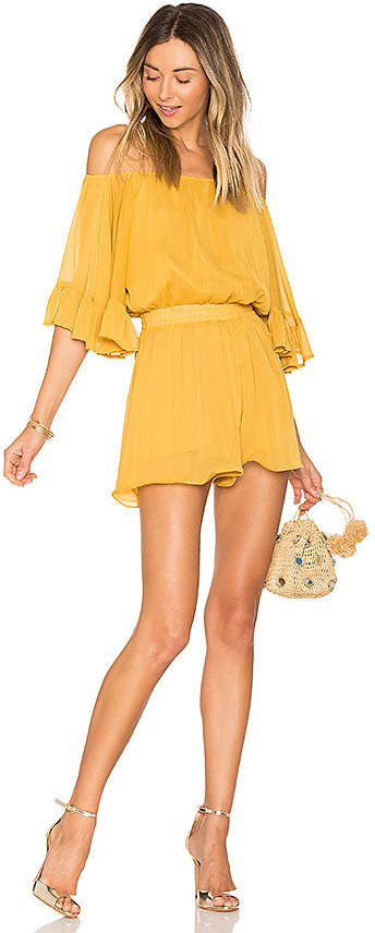 Endless Rose Ruffled Sleeve Romper in Yellow 3