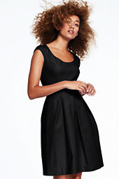 Lands' End Women's Pleated A-Line Dress-Jet Black $165 thestylecure.com