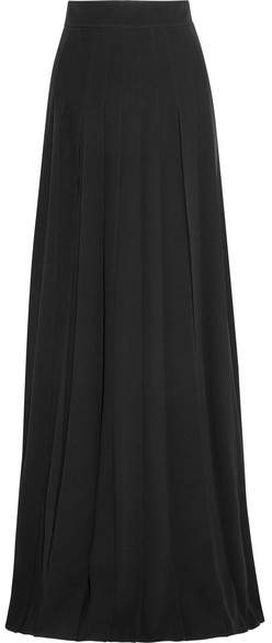 Prada - Pleated Crepe Maxi Skirt - Black