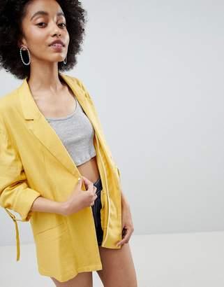 Bershka Linen Blazer In Yellow