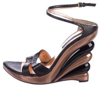 Sergio Rossi Snakeskin Wedge Sandals