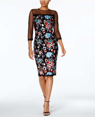 JAX Embroidered Illusion Sheath Dress $158 thestylecure.com