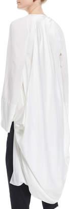 Urban Zen V-Neck Long-Sleeve Draped Cocoon Silk Coat