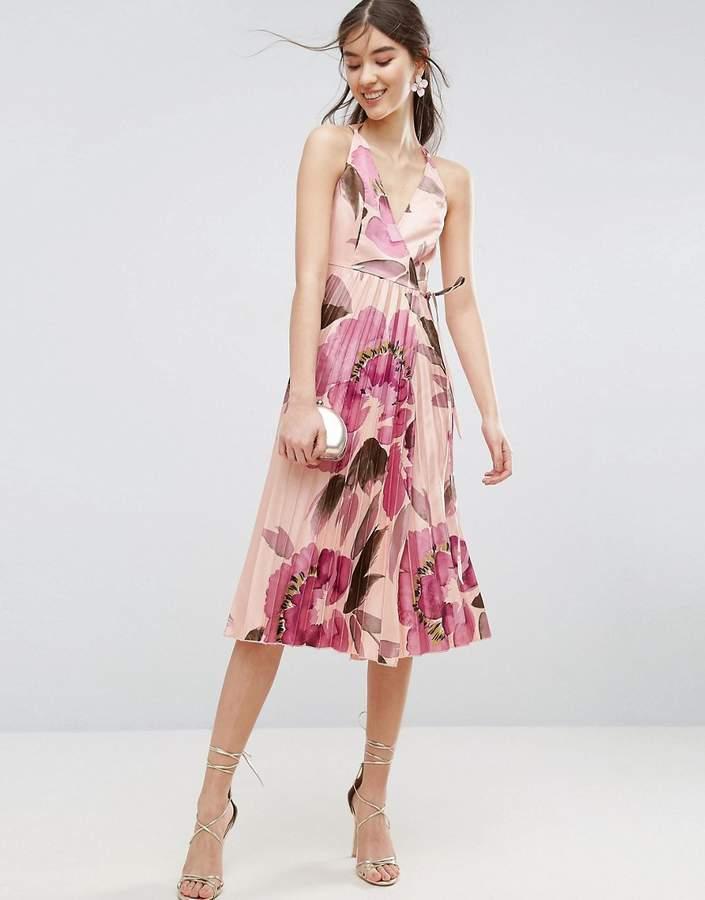 AsosASOS Floral Pleated Wrap Cami Midi Dress