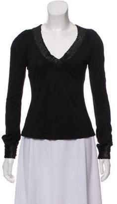 Diane von Furstenberg Silk Bisset Sequin-Trimmed Top Black Silk Bisset Sequin-Trimmed Top