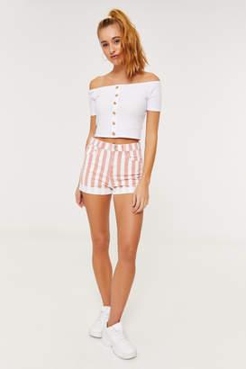 Ardene Striped High Rise Jean Shorts