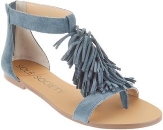 Sole Society Suede Fringe Flat Sandals - Koa