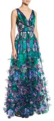 Marchesa Organza Ball Gown w/ 3D Floral Embroidery