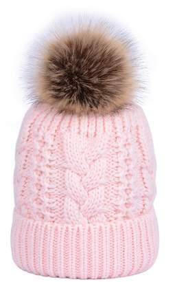 3dc0c80e606 LOKTARC Women s Winter Cable Knit Faux Fur Pom Pom Fleece Lined Beanie Hat