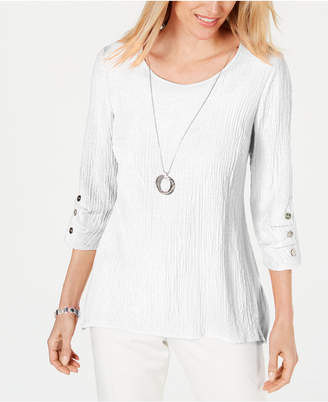 JM Collection Petite Textured Necklace Top