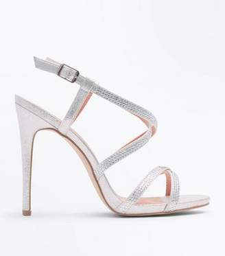 New Look Silver Strappy Diamanté Stiletto Sandals