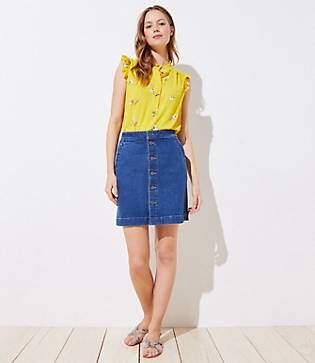 d68a6fa9a LOFT Petite Button Down Denim Skirt in Mid Indigo Wash