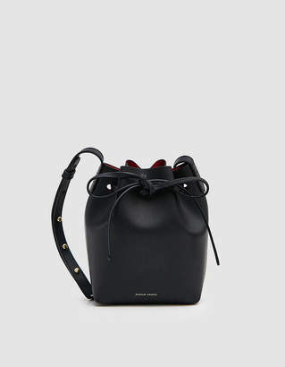 Mansur Gavriel Vegetable Tanned Mini Mini Bucket Bag in Black/Flamma