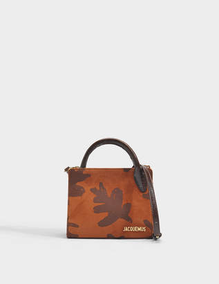 Jacquemus Bahia Bag in Printed Brown Suede