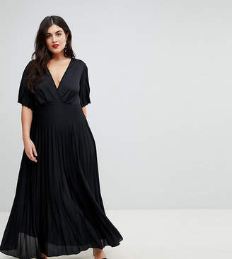 Asos DESIGN Curve kimono pleated maxi dress