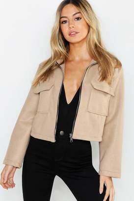 boohoo Petite Pocket Detail Wool Look Utility Jacket