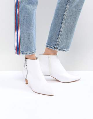 Faith White Zip Detail Peg Heeled Ankle Boots