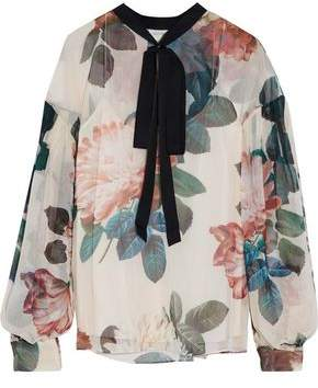 Sachin + Babi Pussy-Bow Floral-Print Georgette Blouse