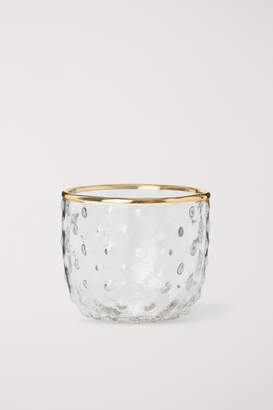 H&M Small glass tealight holder - White