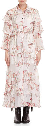 Religion Care Floral Ruffled Maxi Dress