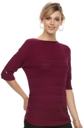 Apt. 9 Women's Textured Ruched Boatneck Sweater