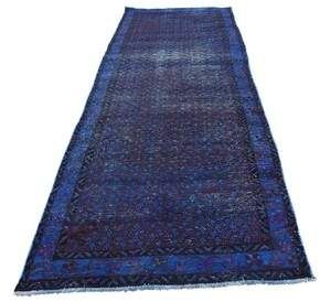 """Hogan Isabelline One-of-a-Kind Vintage Overdyed Hand-Knotted Runner 3'1"""" x 9'7"""" Wool Purple Area Rug Isabelline"""